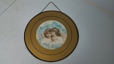 "Antique Flue Cover Victorian Litho Gorgeous Little Girl Angels 9.5"" Cover Plate"