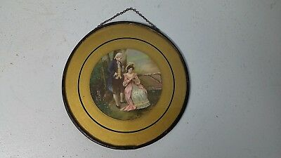 "Antique Flue Cover Victorian Litho Couple Lovers in Garden 6"" Round Cover Plate"