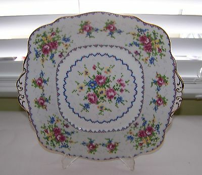 Royal Albert PETIT POINT Bone China Square Cake Plate w/ Handles Made in England