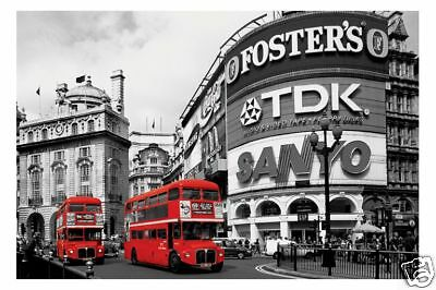 Poster LONDON  - Piccadilly Circus Red Buses ca90x60cm NEU 57108