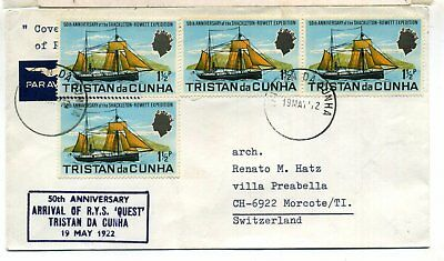 Tristan Da Cunha Cover To Switzerland 1972 Shackleton-Rowett Expedition