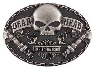 Harley-Davidson Men's Gear Head Belt Buckle, Antique Nickle Finish HDMBU11501