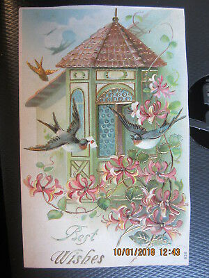 vintage postcard BEST WISHES GAZEBO w SWALLOWS FREESIA ? FLOWERS unused