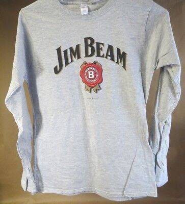 NEW Ladies JIM BEAM Logo on a Long Sleeve Grey T Shirt by Gildan, 3 Sizes S,M,L