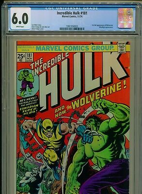 1974 Marvel Incredible Hulk #181 1St Appearance Wolverine Cgc 6.0 White Pages