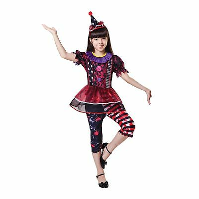 RED & BLACK BLOODY CLOWN HALLOWEEN Age 3-10 Girls Childs Fancy Dress Costume