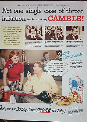 ORIGINAL FULL PAGE ADVERT FROM 1950 MAGAZINE - Camel Cigarettes - Mildness Test