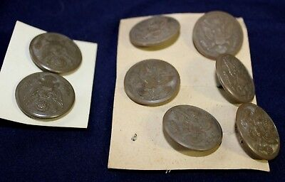 Lot Of 8 Wwii U.s. Army Great Seal Buttons For Wool Overcoat Rare Plastic 28.5Mm