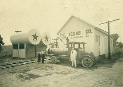 c 1915 VINTAGE TEXACO PETROLEUM PRODUCTS RAIL CAR w AGENT MILLER Texas oil gas