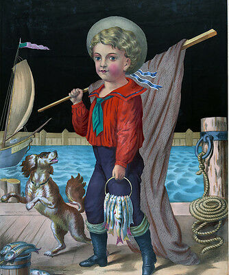 """perfect 24x28 oil painting handpainted on canvas""""Sailor Boy """"@N3985"""