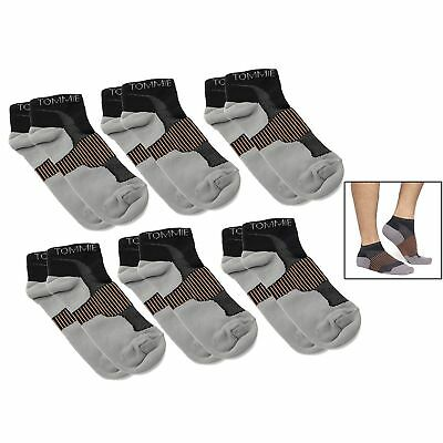 Tommie Copper (6) Pairs of Copper-Infused Compression Ankle Socks Fit