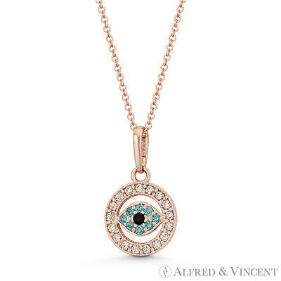 Evil Eye Turkish Nazar Greek Luck Charm 14x8mm 14k Rose Gold CZ Crystal Pendant