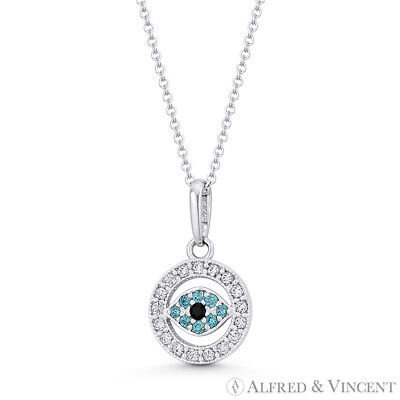 Evil Eye Turkish Nazar Greek Luck Charm 14x8mm 14k White Gold CZ Crystal Pendant