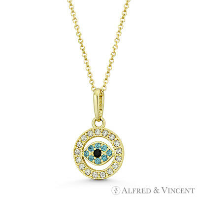 Evil Eye Turkish Nazar Greek Luck Charm 14mmx8mm 14k Yellow Gold Crystal Pendant