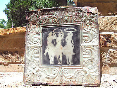 Antique Ceiling Tin Wall Tile Upcycled Southwestern Cowboy Art J5