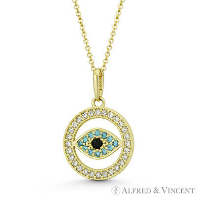 Evil Eye Turkish Greek Luck Charm 18x12mm CZ Crystal Pendant in 14k Yellow Gold
