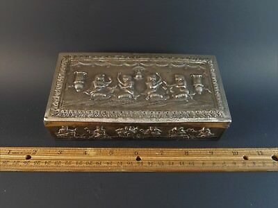 Old Asian Eastern Oriental Indian Burmese Silver Metal Hinged Box with Figures