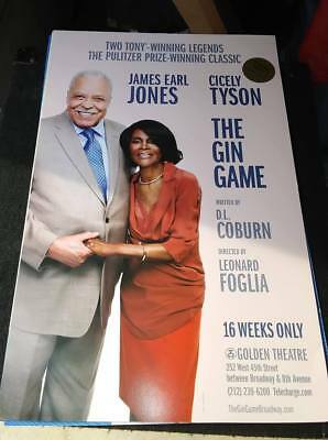 James Earl Jones-Cicely Tyson-Gin Game-Broadway- Window Card- (Unsigned)