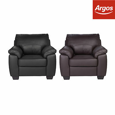Argos Home New Logan Leather Effect Armchair Chair - Black or Chocolate