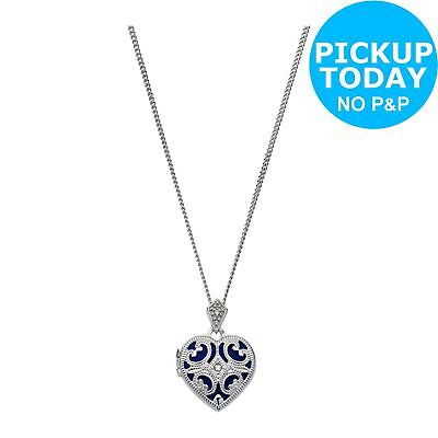 Moon & Back Sterling Silver CZ Filigree 1 Photo Locket 18 Inch