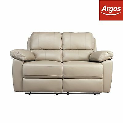 Argos Home Toby 2 Seater Faux Leather Recliner Sofa - Grey