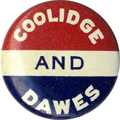 1924 Campaign Calvin COOLIDGE AND Charles DAWES Logo Button (1458)