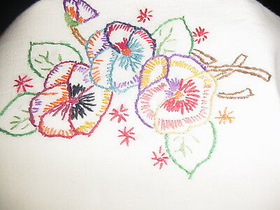 vintage hand embroidered pillowcases  crochet pink edge   floral  cotton