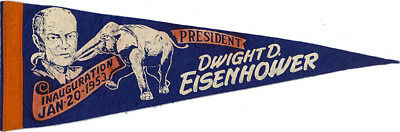 1953 President Dwight Eisenhower Inauguration Pennant Flag (4971)