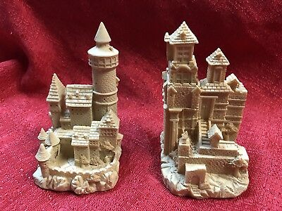 Set Of 2 Sand Castle Garden Sculpture Pool Patio Beach Statue 4 Inches Tall