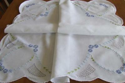 Lovely Hand Embroidered Vintage Tablecloth - Blue Daisy Pattern - Crochet Edge