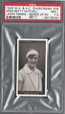 1928 W A & A C Churchman - #36 Miss Betty Nuthall - Lawn Tennis - Psa 7.5