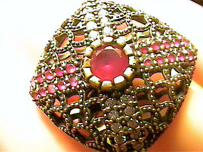 Vintage Antique Ruby Silver Ring 7 Medieval Natural Sapphire Sterling 925