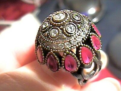 Vintage Antique Silver Ring 6 Medieval Sapphire Ruby Sterling 925 Gypsy Old Wow