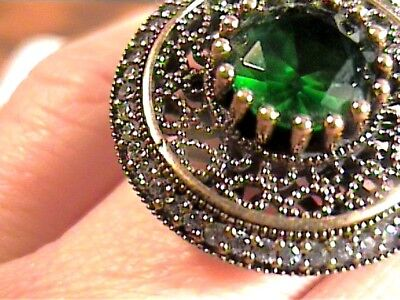 Vintage Antique  Emerald Silver Ring 10 Medieval Big Sapphire Sterling 925