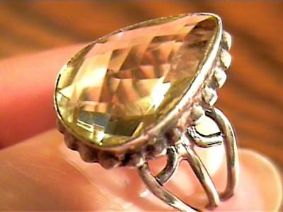 STERLING SILVER 925  Ring 7 lemon Citrine Natural PEAR cut solitaire