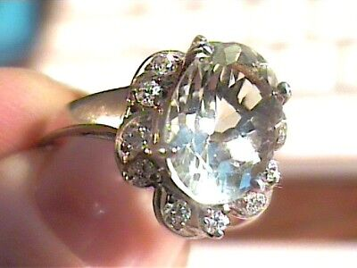 RING 7 green AMETHYST STERLING SILVER 925 natural sapphire white gold oval