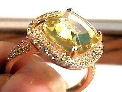 STERLING SILVER 925  Ring 7.75 lemon Citrine Natural solitaire sapphire COCKTAIL
