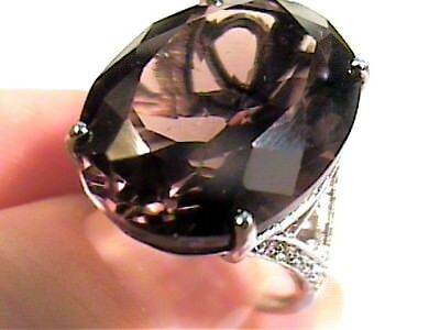 Sterling silver RING  925 natural smoky topaz OVAL big CLASSY  5 ELEGANT