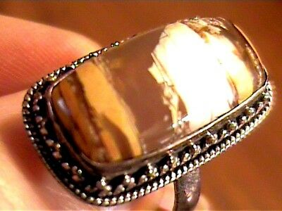 Yellow Agate Sterling Silver 925 Ring 8 Long Natural Elegant Nice Bold