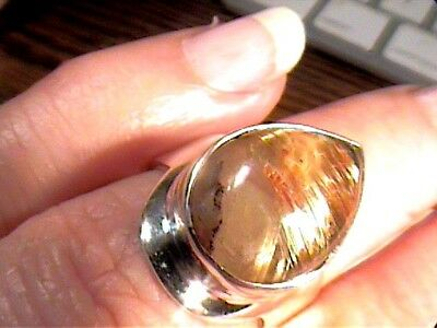Natural RUTILATED QUARTZ ROUGH 925 STERLING Silver Ring 7 BOLD ELEGANT REAL WOW