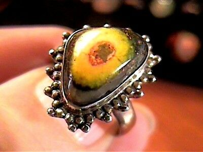 Eclipse Agate  Sterling Silver 925 Ring 7 Natural Complex Old Bold Elegant