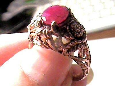 RING NATURAL AFRICAN RUBY 8.25  STERLING silver 925 real FLORAL old PINK GOLD