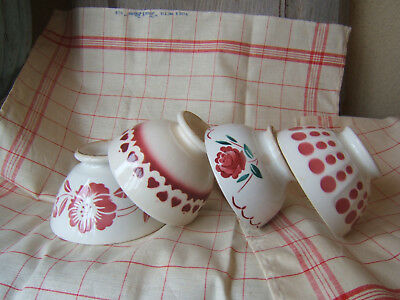 4 Antique Pink Shades. Cafe Au Lait French Bowl Polka Dot  Pattern Roses Hearts