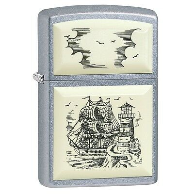 Zippo 29397, Scrimshaw Ship, Emblem, Street Chrome Finish Lighter, Full Size
