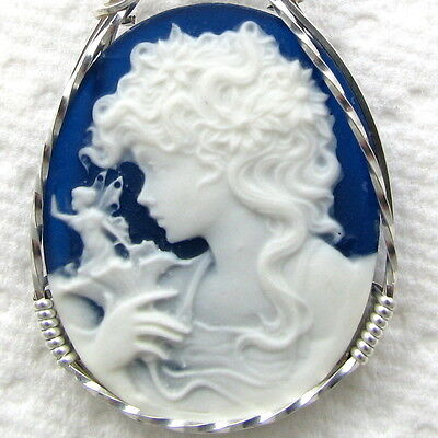 Fairy Tulip Blue Cameo Pendant .925 Sterling Silver Jewelry Blue Resin