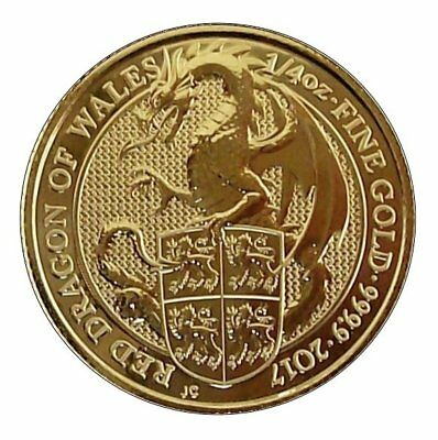 ++ Queens Beast - Dragon of Wales - 2017 - 1/4oz Gold  ++