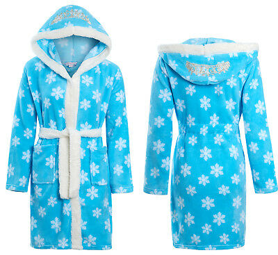 Girls Soft & Cosy Ice Princess Tiara Snowflake Dressing gown Ages 5-13 years