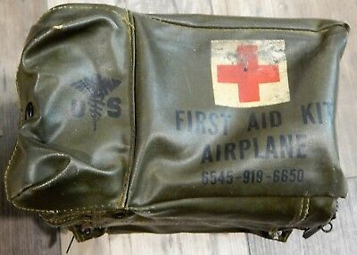 Vintage Military Green First Aid Kit Airplane 6545-919-6650 Contents Included