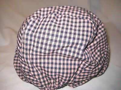 VINTAGE YOUNG GIRLS PINK AND NAVY BLUE CHECKED TWILL BONNET HAT-1930s 1940s