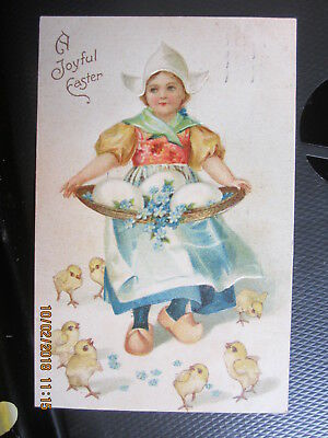 vintage postcard JOYFUL EASTER DUTCH GIRL w BASKET of EGGS CHICKS used w/st 1908